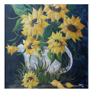Sunflowers in an Antique Country Pot Acrylic Wall Art