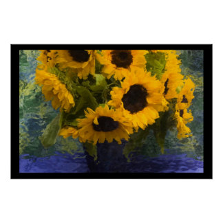 Sunflowers in Blue Vase - Impressionist Style Poster