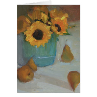 Sunflowers in Ceramic Pot with Pears - a note card