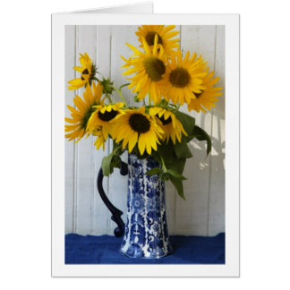 Sunflowers in Chinese Vase Card
