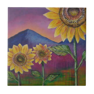 Sunflowers in front of Mountains Tile