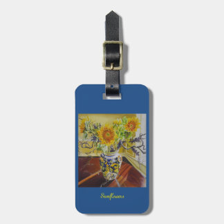 Sunflowers in Italian Vase luggage or purse tag