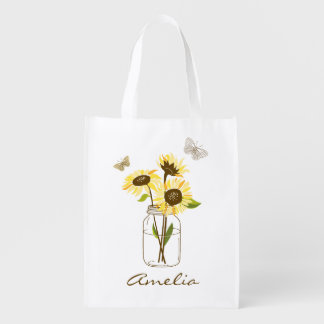 Sunflowers in Mason Jar Personalized Reusable Grocery Bag