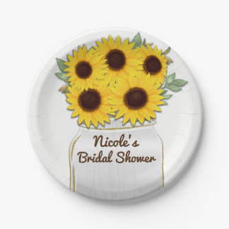 Sunflowers in Mason Jar Rustic Chic Bridal Shower Paper Plate