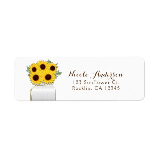 Sunflowers in Mason Jar Rustic Chic Bridal Shower Return Address Label