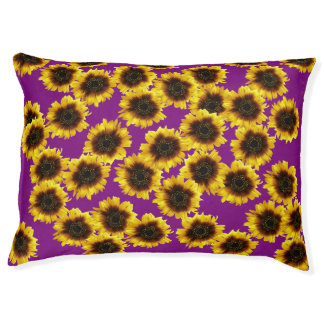 Sunflowers In Purple Indoor Dog Bed - Large Large Dog Bed