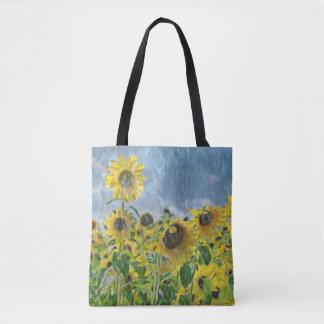 sunflowers in rain tote bag