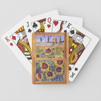 Sunflowers in Tuscany window playing cards