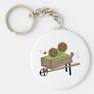 Sunflowers in Wheel Barrel Keychain