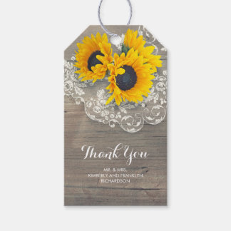 Sunflowers Lace Rustic Country Wood Special Gift Tags