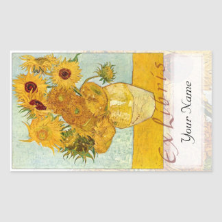 "Sunflowers Large Book Plate ""Ex Libris"" Sticker"
