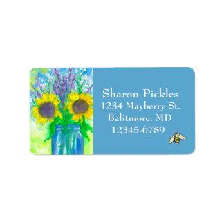 Sunflowers Lavender Honey Bee Label