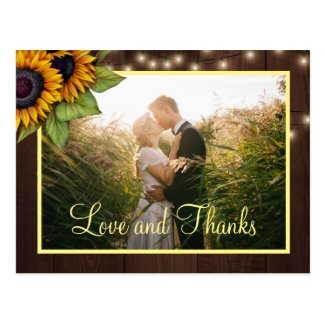 Sunflowers love and thanks wedding thank you postcard