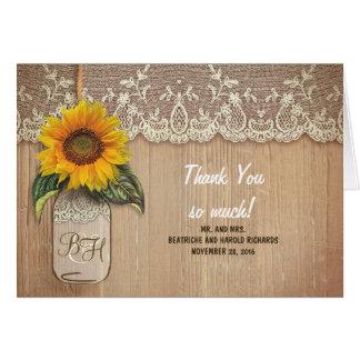 Sunflowers Mason Jar Rustic Lace Wedding Thank You Card