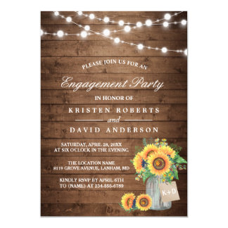 "Sunflowers Mason Jar Rustic Wood Engagement Party 5"" X 7"" Invitation Card"