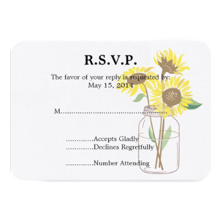 Sunflowers Mason Jar  Wedding RSVP Card