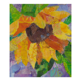 Sunflowers - mixed media - collage poster