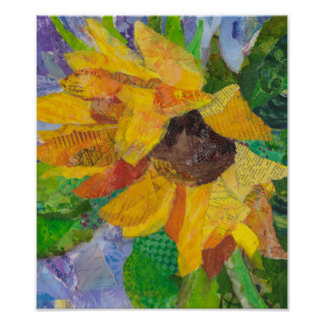 Sunflowers - mixed media - paper painting poster