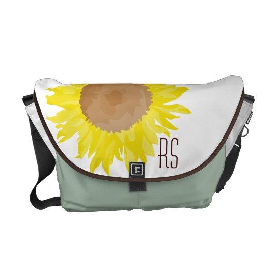 Sunflowers monogrammed messenger bag