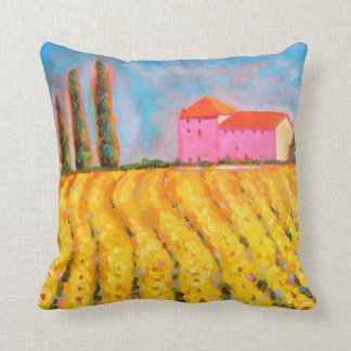 Sunflowers n' Cypresses Cotton Throw Pillow