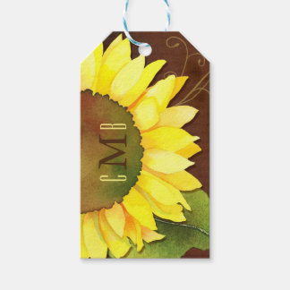 Sunflowers n Monograms Wedding Favor or Gift Tags