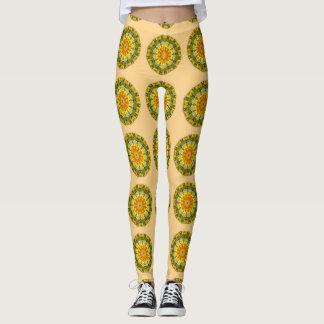 Sunflowers, Nature Flower Mandala 001 01 Leggings