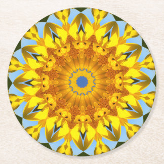 Sunflowers, Nature Mandala 004 Round Paper Coaster