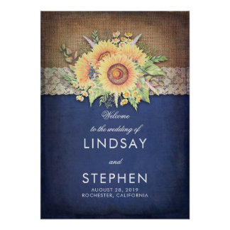Sunflowers Navy Rustic Wedding Welcome Poster