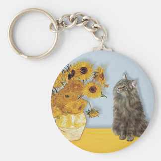 Sunflowers - Norwegian Forest cat Keychain