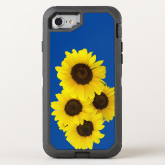 Sunflowers on Blue Background OtterBox Defender iPhone 7 Case