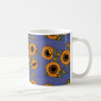 Sunflowers on Blue Coffee Mug
