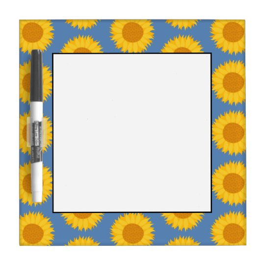 Sunflowers on Blue. Floral Pattern. Dry Erase Board