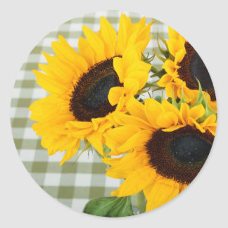 Sunflowers on Gingham Classic Round Sticker