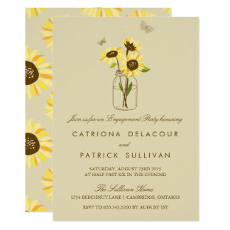 Sunflowers on Mason Jar Engagement Invitation