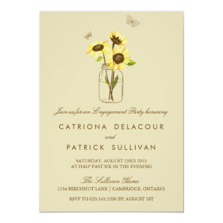 Sunflowers on Mason Jar Engagement Invitation
