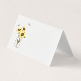 Sunflowers on Mason Jar Floral Place Card