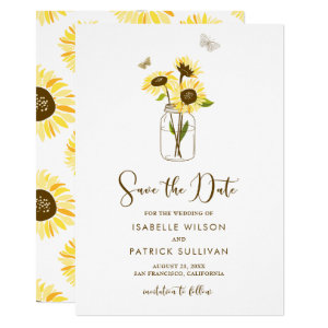 Sunflowers on Mason Jar Save the Date Announcement