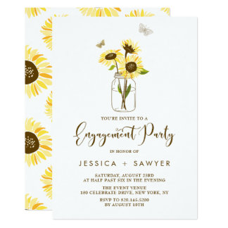 Sunflowers on Mason Jar Summer Engagement Party Card