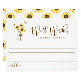 Sunflowers on Mason Jar Well Wishes for Mom To Be Card