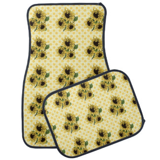 Sunflowers on Polkadots and Hearts Background Car Floor Carpet
