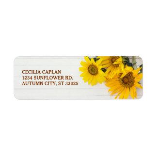 Sunflowers on Rustic Wood Bridal Shower Label Return Address Label