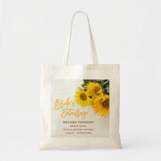Sunflowers on Rustic Wood Bride's Entourage Bag
