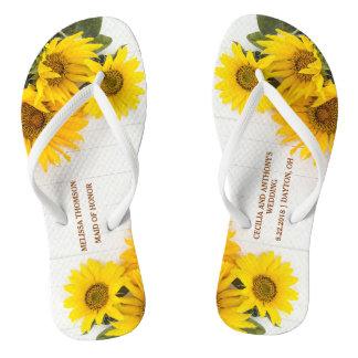 Sunflowers on Rustic Wood Wedding Flip Flops