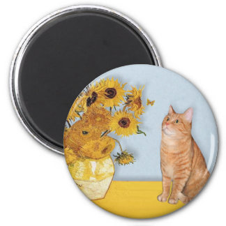 Sunflowers - Orange Tabby cat 46 2 Inch Round Magnet
