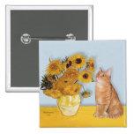 Sunflowers - Orange Tabby cat 46 Pinback Button