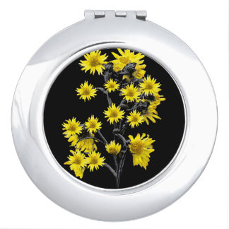 Sunflowers over Black Compact Mirror