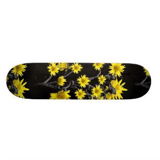 Sunflowers over Black Custom Skateboard