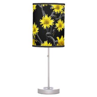 Sunflowers over Black Desk Lamps