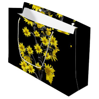 Sunflowers over Black Large Gift Bag