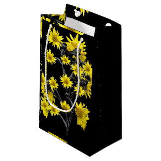 Sunflowers over Black Small Gift Bag